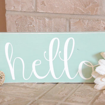Hello Wood Sign - Beach - Shabby Chic - Home Decor - Wall Hanging