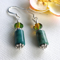 Green Jasper Dangle Earrings, Green and Amber Swarovski Earrings, Natural Stone Earrings, Short Earrings, Healing Stone Earrings