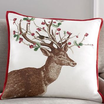 WINTER BERRY DOE PILLOW COVER