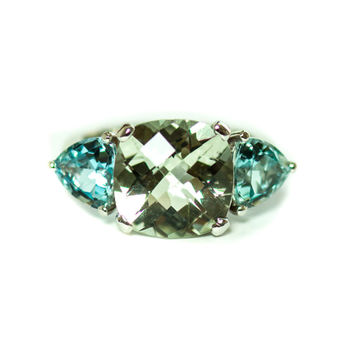 Prasiolite cushion cut and aquamarine trillion 14k white gold ring