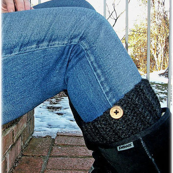 Boot Cuffs , Boot Socks , Legwarmers , Dark Grey , Wood Buttons