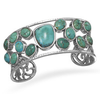Abstract Oval Stabilized Turquoise Cuff Bracelet