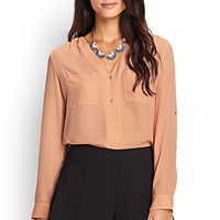 LOVE 21 Buttoned Pocket Blouse