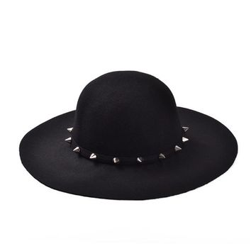 Free Shipping 2017 New Fashion Wine Red /Red /Black /Camel /Royal Blue Wool Floppy Hats With Studs Big Brim For Women /Ladies