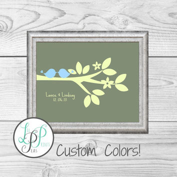 Bridal Shower Gift, Personalized Wedding Gift, Gift for Her, Gift for Him, Valentine's Day Gift, Bride Gift, Custom Wedding Colors Print