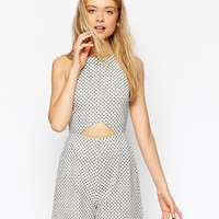 ASOS Playsuit with Cutout in Tile Print