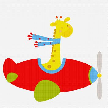 Contemporary Giraffe Flying an Airplane Hand Embroidery Pattern