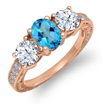 1.92 Ct American Blue Mystic Topaz White Topaz 18K Rose Gold Plated Silver Ring