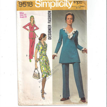 Simplicity 9815 Designer Pattern for Misses' Dress, Tunic, Pants, Size 12, from 1971, Vintage Pattern, Home Sewing Pattern, 1971 Fashion