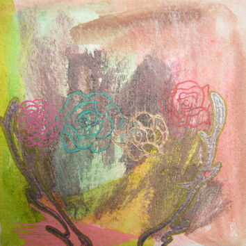Mixed media, Drawing, Gouache, Antlers, Flowers, Original, Paper, Small, Metallic, Sketch, Pink, Artwork, Teal, Red, Nature