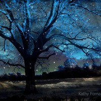 "Nature Photography, Surreal Blue Starry Gothic Trees Nature, Blue Spooky Tree Nature Landscape, Fantasy Gothic Blue Nature Photo 8"" x 12"""