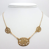 Gold Flower Necklace Avon Engraved Flower Choker Necklace Child's Children Necklace Jewelry