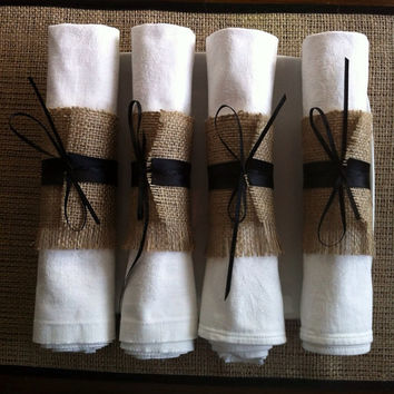 Halloween wedding silverware holders, 4 burlap cutlery wraps