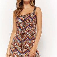 Mixed-Daisy Print Mini Dress