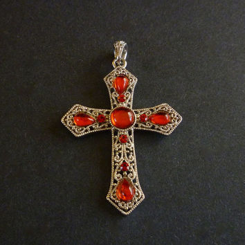 Filigree Cross Pendant, Red Cabochon Cross Pendant