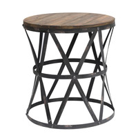 Crestview Collection S Heraldine Side Table, Wood With Galvanized Metal