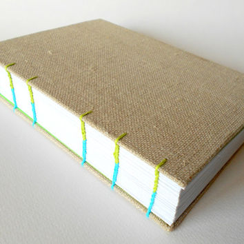 Handmade fabric travel journal with hard covers and coptic binding with 400 pages, linen burlap fabric notebooks journal, A6, A5, A4