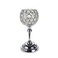 Crystal Globe Stand Metal Centerpiece Candle Holder, Silver, 9-Inch