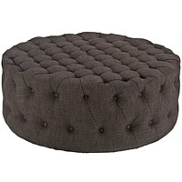 Amour Upholstered Fabric Ottoman, Brown
