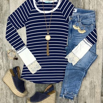 Go the Distance Navy Blue Striped Sweater