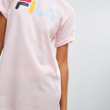 Fila Relaxed Boyfriend T-Shirt With Multi Color Logo at asos.com