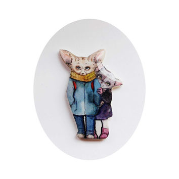 Fenech couple in love and the Pussycat, Christmas gift, Animal brooch Free shipping, gifts under 25