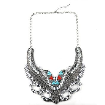 European Fasionable Big Brand Necklace Alloy Zircon Exaggerated Necklace   silver
