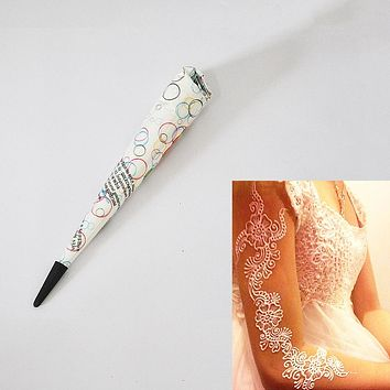 1 Piece White Color Indian Tattoo Henna Paste Cone for Body Art Drawing Temporary Hand Arm Paint Henna Cream Makeup Wedding 2017