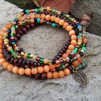 Guardian Stone - Orange Cats Eye Beaded Bracelet Stack - Autumn Colors - Gypsy Bracelets - Colorful Stretch Bracelets