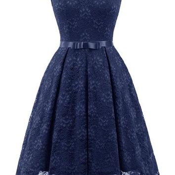 Navy Blue Lace Off Shoulder Draped Bow Elegant Party Midi Dress