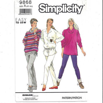 Simplicity 9868 Pattern for Misses' Slim Pants, Loose Fitting Tops, Size Pt. to X Large, From 1990, FACTORY FOLDED, UNCUT, Vintage Pattern