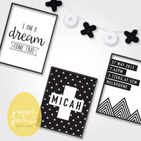 Set of 3 Printable Baby Birth Announcement Wall Art: Monochrome