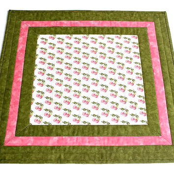 Quilted Table Topper, Cherry Table Runner, Pink Table Topper, Kitchen Table Quilt, Quiltsy Handmade