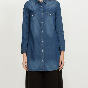 Classic Loose Fit Chambray Jean Denim Shirt Dress with Pocket (CLEARANCE)