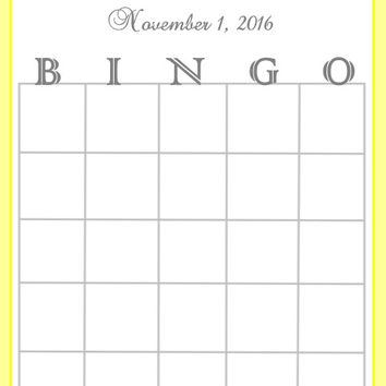 Yellow Striped Baby Shower Bingo Cards