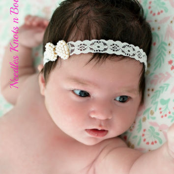 Baby Girls Pearl Bow Lace Headband, Newborn Headband, Pearl Bow Headband, Newborn Photography Prop Headband