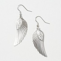 Silver and Crystal Wing Drop Earrings – Claire's