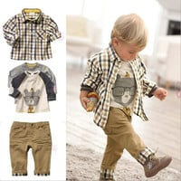 Boy's 3 PC Set - Button-up+Long sleeve shirt+Khaki Pants