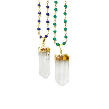 Crystal Quartz Point Rosary Necklace