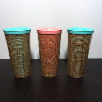 Vintage 1960's Raffiaware Tall Plastic Tumblers/Cups/Drinking Glasses - Set of 3 - 2 Turquoise Blue and 1 Pink