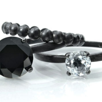 Gemstone Stacking Rings, Black Tie Affair, Sterling Silver Rings with Black Spinel, White Topaz and Bubble Ring