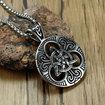 Men's Irish Celtics Trinitys Knot Pendant Necklace for Men Stainless Steel Unisex Vintage Gotycki Male Jewelry