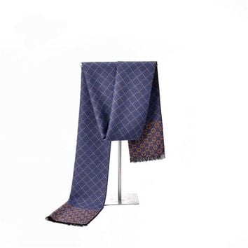 Cashmere Men Scarf The Autumn And Winter Round Neck Classic Plaid Warm Scarf