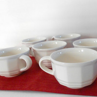 Pfaltzgraff Heritage Collection White Teacups Set of Six