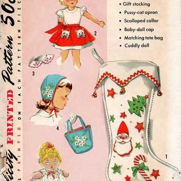 Simplicity 1950s Sewing Pattern Sock Full of Gifts Christmas Stocking Apron Baby Doll Tote Bag Holiday