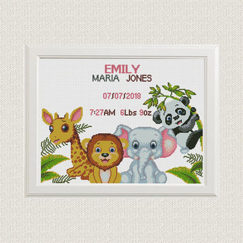 Cross stitch pattern Birth announcement Jungle animals cross stitch giraffe elephant lion panda baby girl boy birth record nursery decor