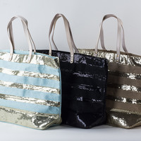 Striped Glitter Tote