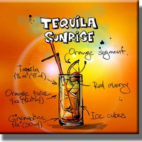 Tequila Sunrise Drink Recipe Picture on Stretched Canvas, Wall Art Decor, Ready to Hang!