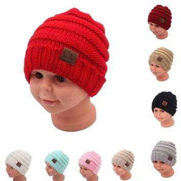 Winter Hats For Kids CC Beanie Warm Hat Knit Beanies Slouchy Hats For Girls Cute Boys Knitted Skullies Cap Children Baggy Caps