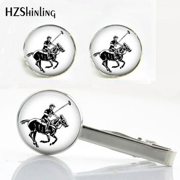 CT--0027 Polo Player and Horse Tie Clip and Cufflink Horse Cufflinks Silver Round Clips Handmade Jewelry Gifts for Men